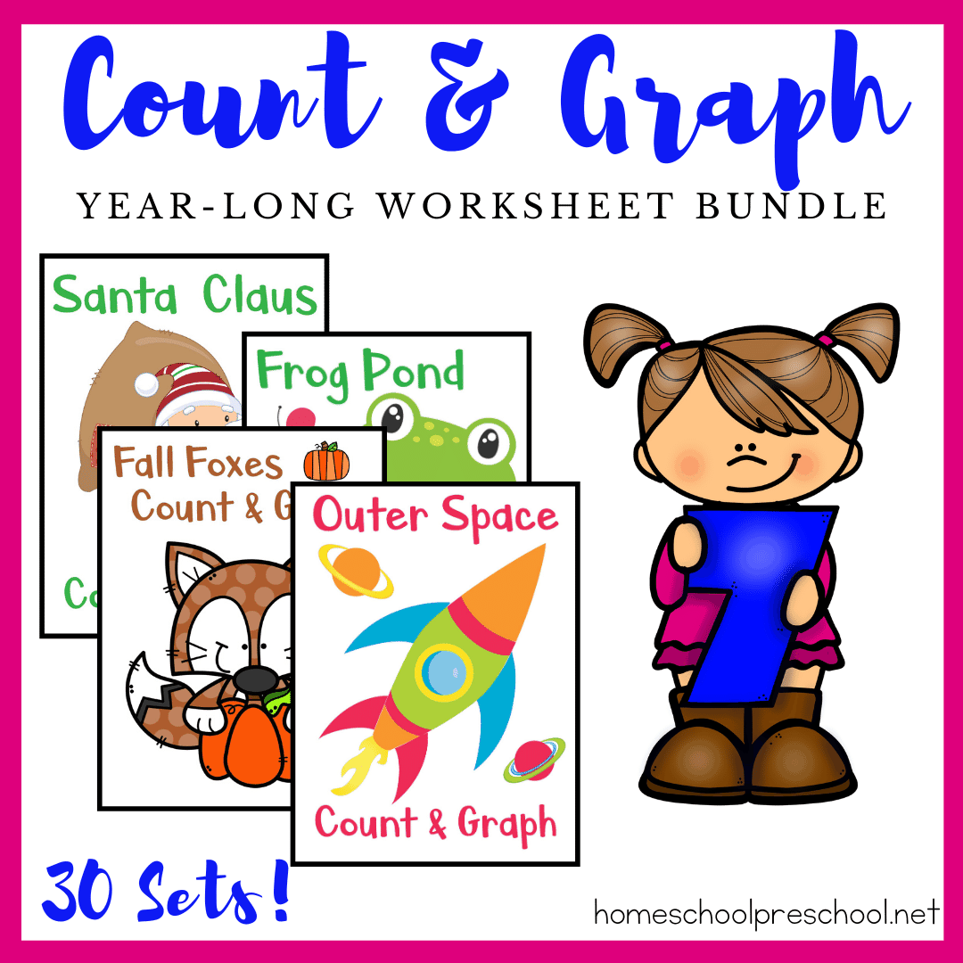 Year Long Count And Graph Bundle For Preschoolers