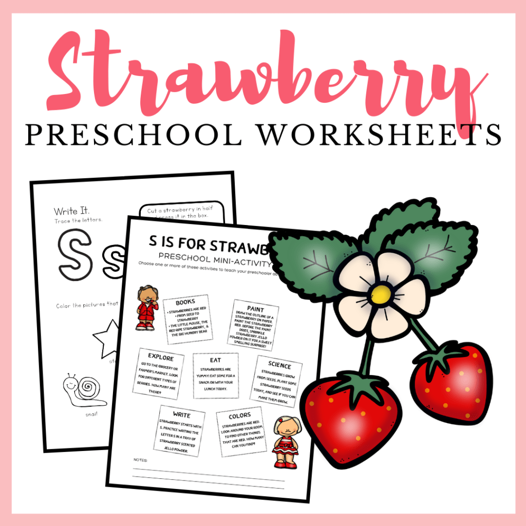Printable S Is For Strawberry Worksheets For Preschool