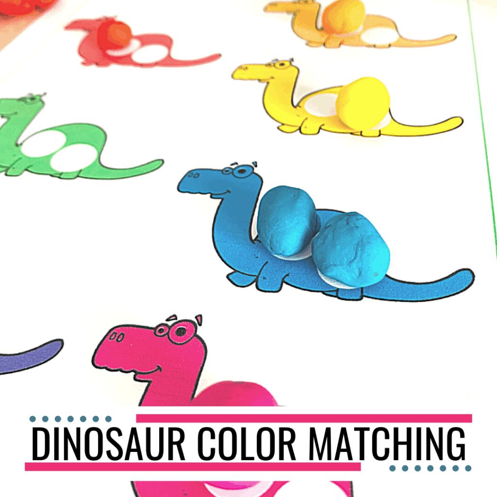 Free Printable Dinosaur Color Matching Worksheet