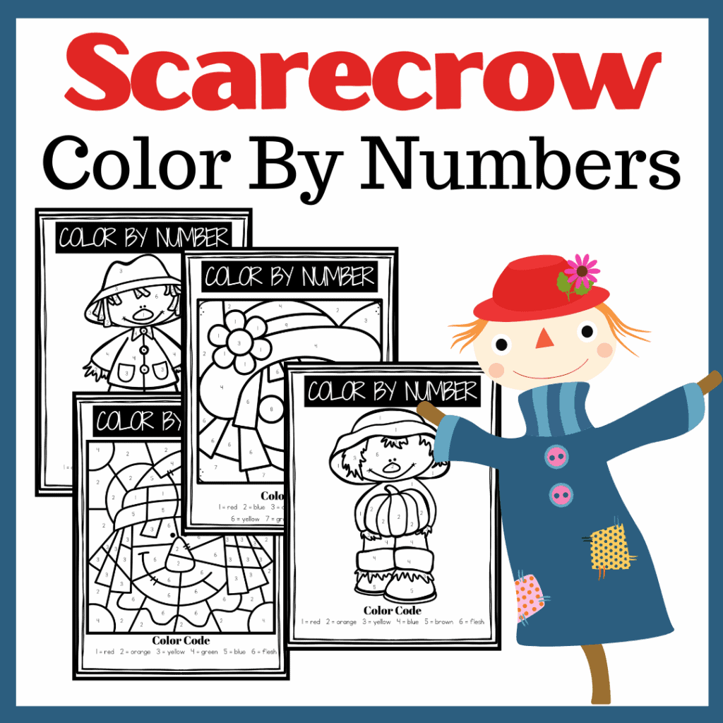Printable Scarecrow Color By Number Worksheets