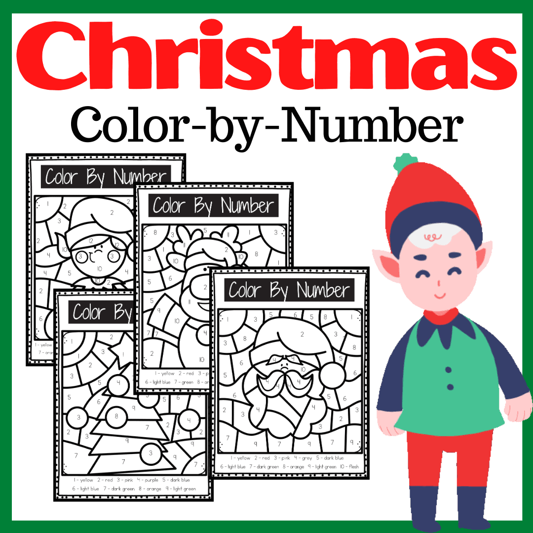Christmas Color By Number Worksheets For Preschoolers