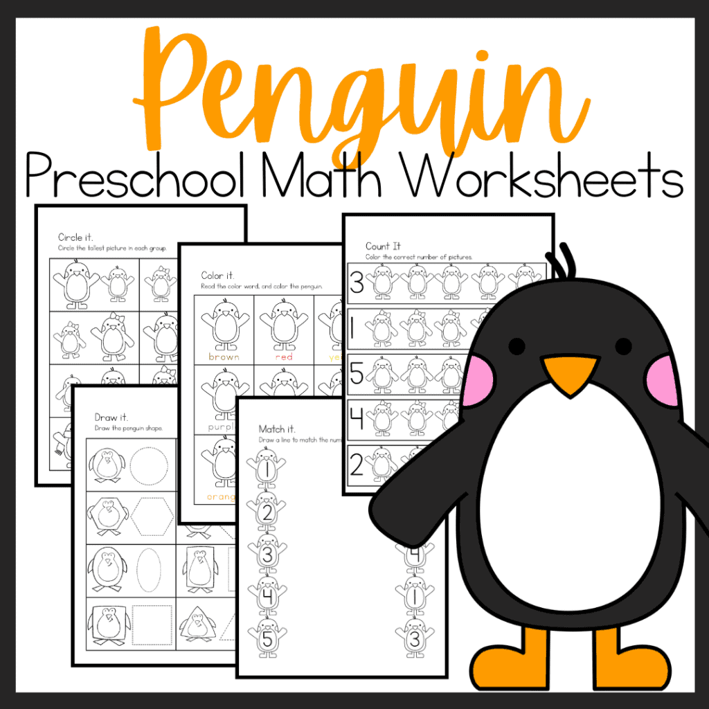 Free Penguin Math Worksheets For Preschoolers