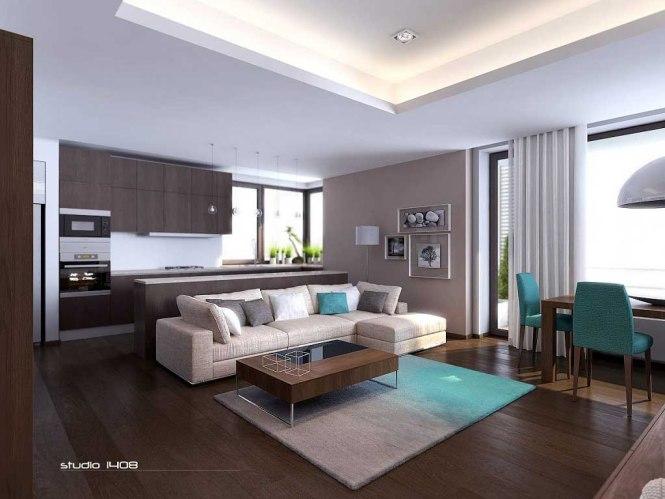 Contemporary Open Concept Small Apartment Studio 1408