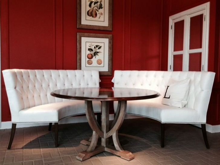 Wonderful Design Of Curved Banquette Seating For Living