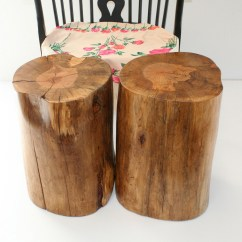 Tree Stump Chairs Metal Bar Natural Side Table Brings Nature Fragment Into