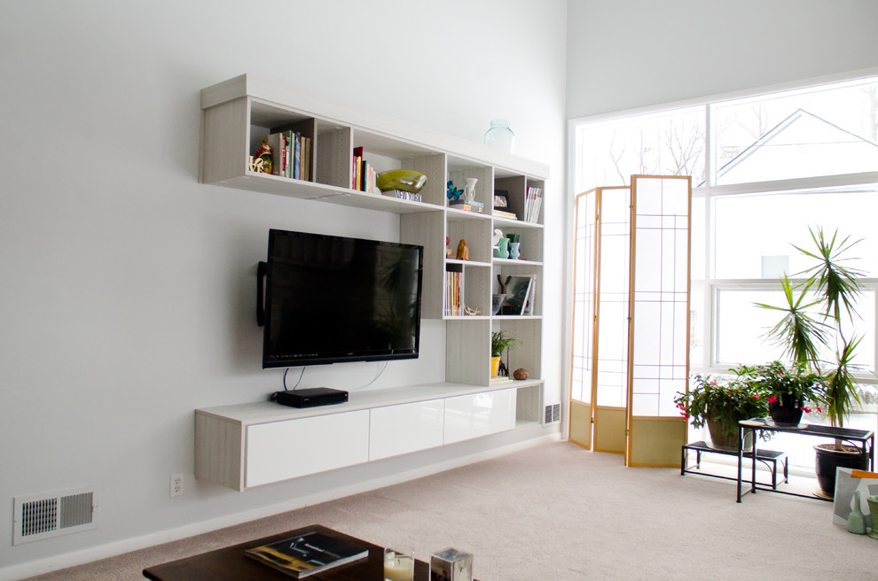 media center living room curtains ideas pictures floating for creating the modernity homesfeed modern minimalist tv console in white finishing a flat screen open shelves wood