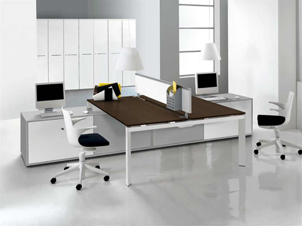 Unique Style Two Sided Desk Offers Togetherness in