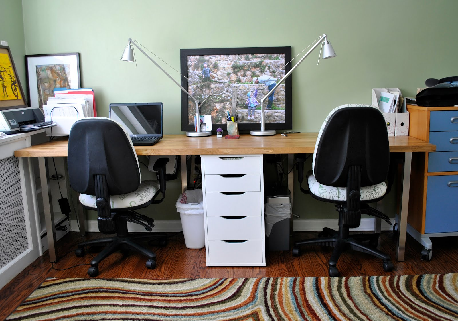 Rousing and Smart Home office Ideas with 2 Person Desk at