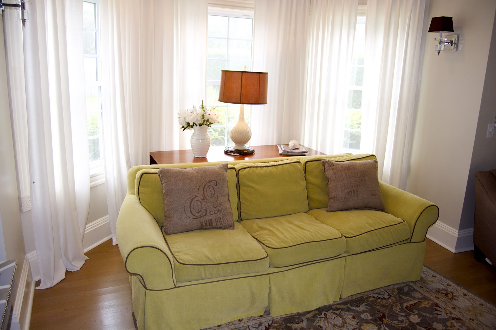 yellow kitchen rug rustic island cart how to choose the right window treatments for wide windows ...