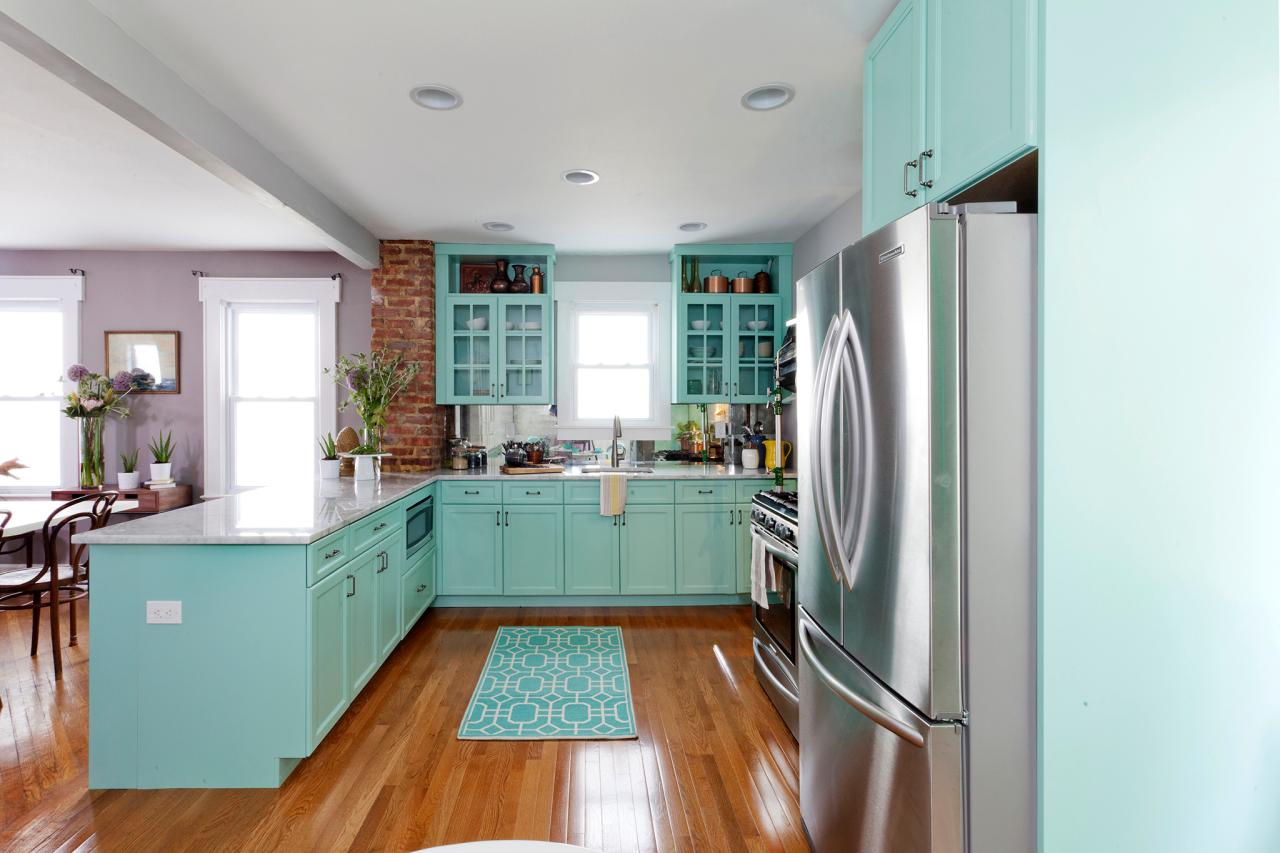 Epoxy Over Laminate Countertops Teal Kitchen Cabinets: How To Paint Them? | Homesfeed