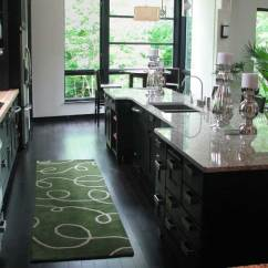 Green Kitchen Rug Knife Sets Ideas Nay Or Yea Homesfeed Small With Simple Pattern Black Wood Planks Floors System A Luxurious Island