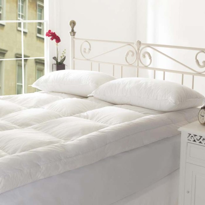 Comfortable Ikea Mattress Topper Idea For Single Bed Metal Frame Two White Covered Pillows
