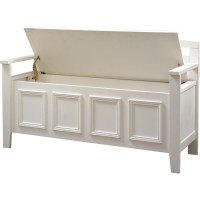 White Wood Storage Bench: Practical and Doubled