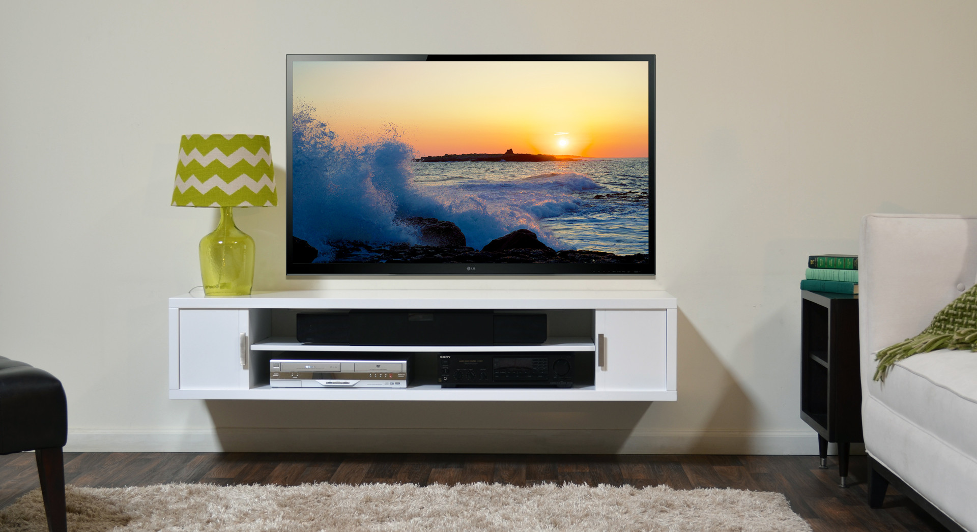 small flat screen tv for kitchen aid parts wall cabinets offering space saving