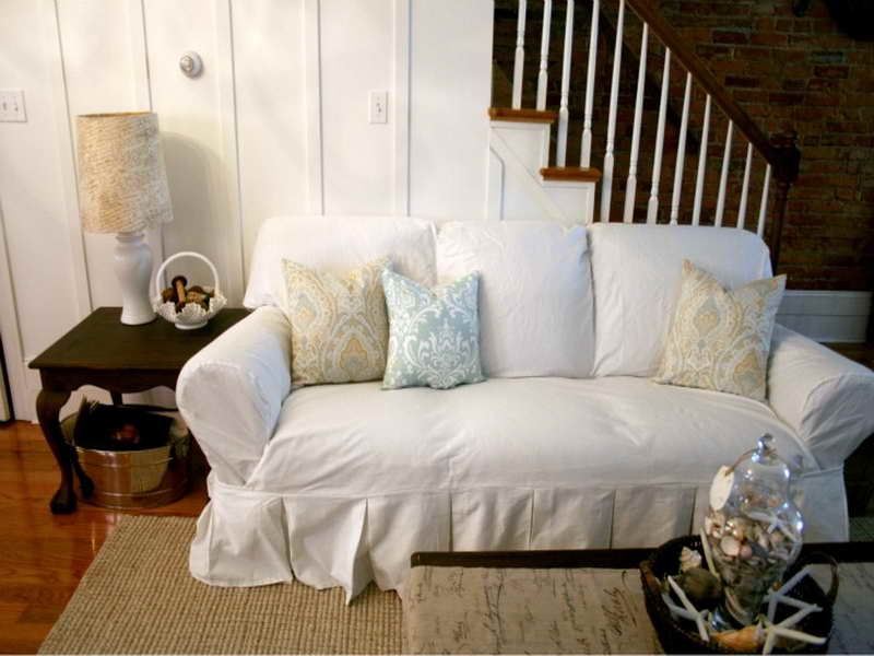white slipcovered sofa living room open plan kitchen dining plans comfortable that brings ...