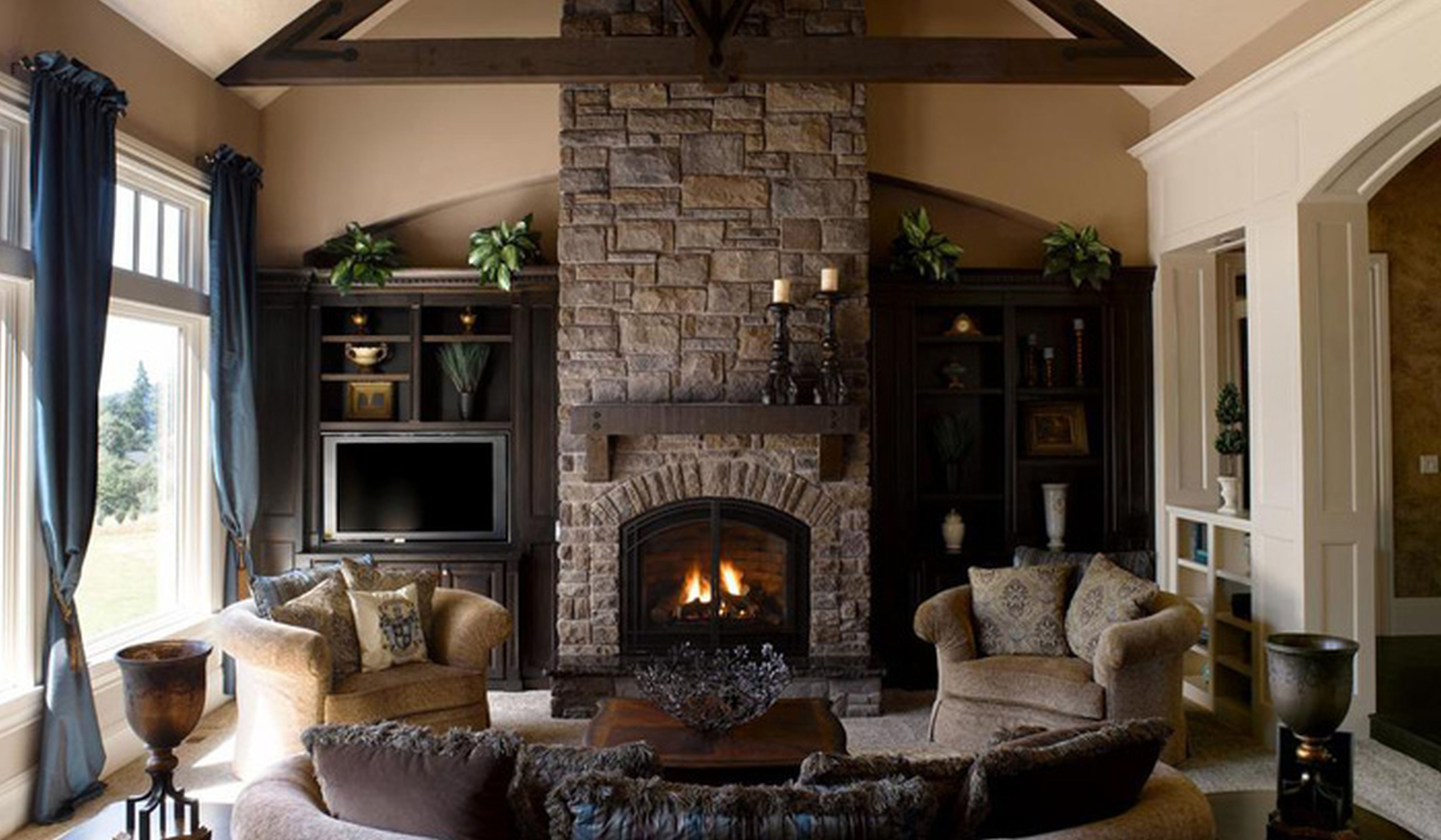 Family Living Room Stone Fireplace Ideas