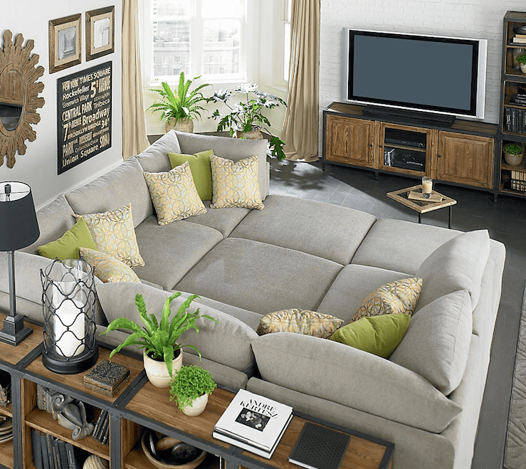 sectional sofa purchase sleeper sofas austin tx guides on huge homesfeed grey cube small tidy living room wooden furniture black tile floor plant pots