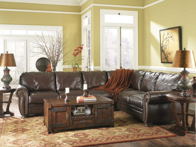 brown leather couch living room wall units designs india distressed sectional | homesfeed