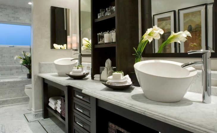 luxurious and large nicole miller bathroom idea in modern home decor with wooden white vanity black framed wall mirror bowl sink lily decoration wallpaper hd bathroom for iphone high resolution always up to date fashionable