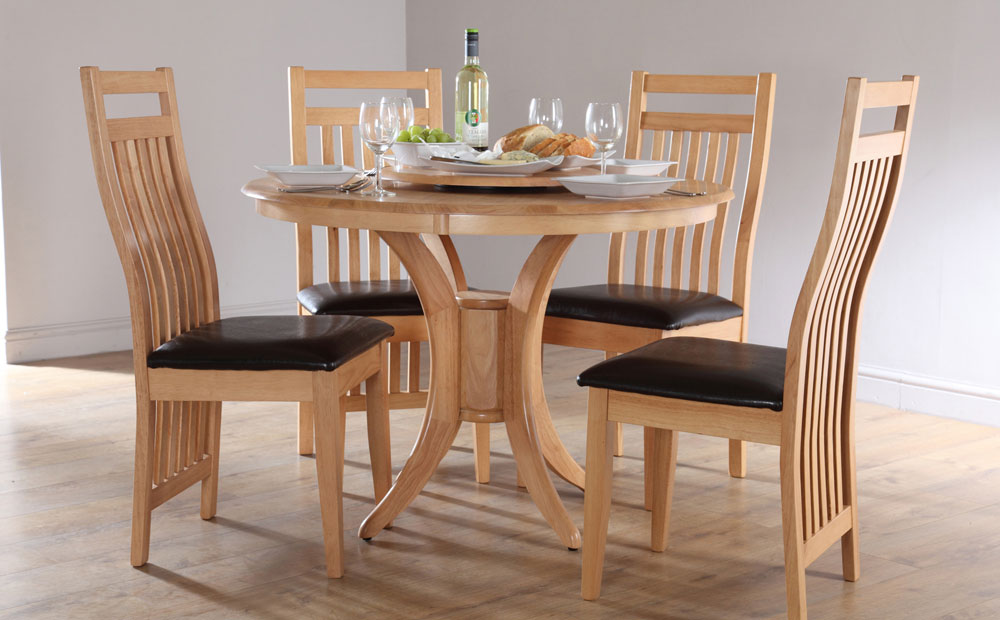traditional round kitchen table set for 4 made of wood