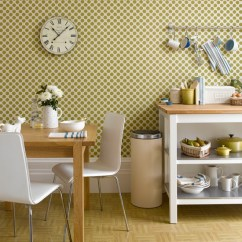 Wallpaper For Kitchen Outdoor With Green Egg Backsplash Homesfeed Beautiful Polka Dots Wall And In A Small Wooden Dining
