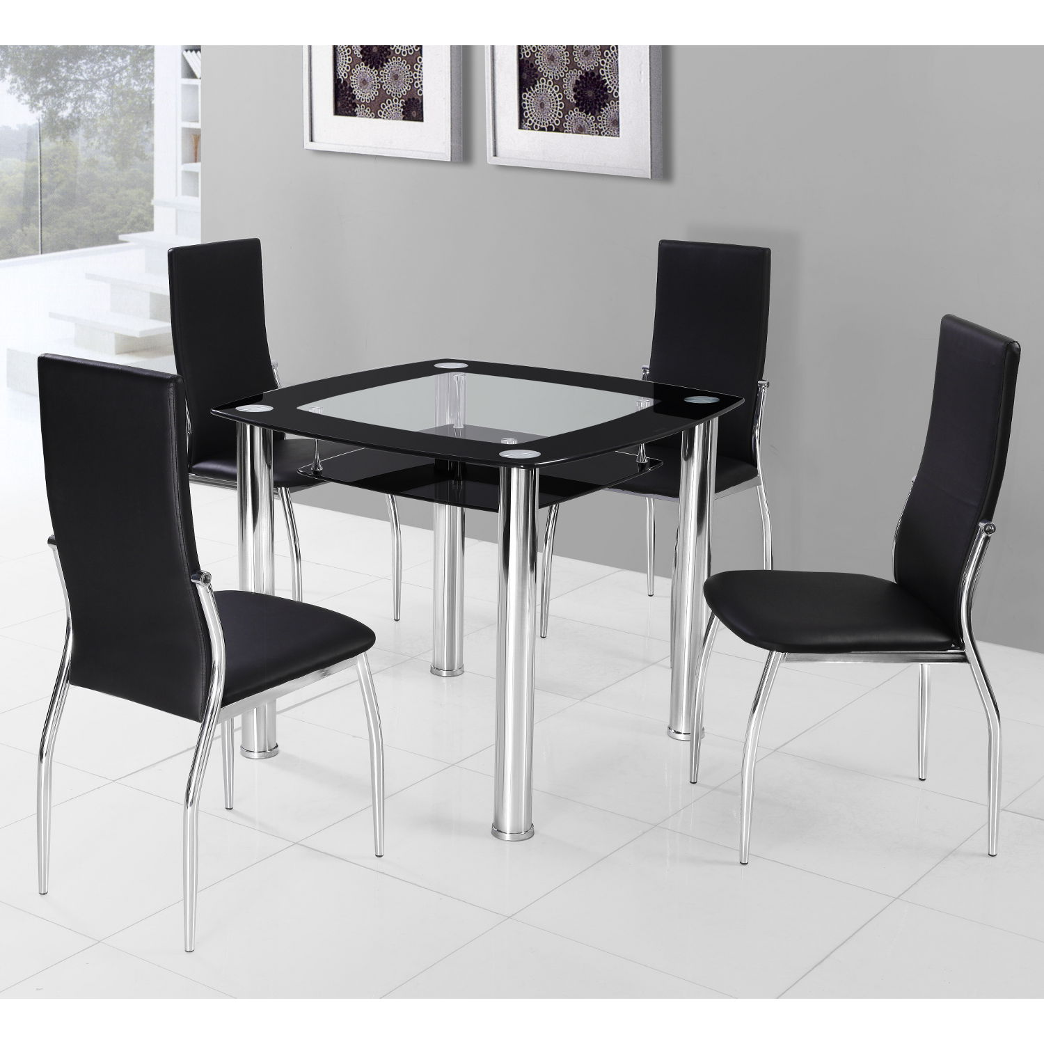 4 chair dining table designs black and white chairs living room square for homesfeed