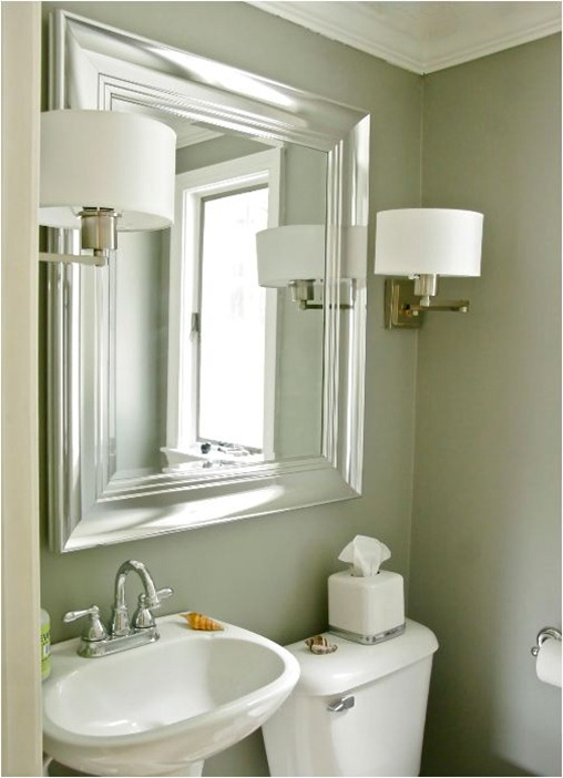 Brushed Nickel Bathroom Mirror as Sweet Wall Decoration