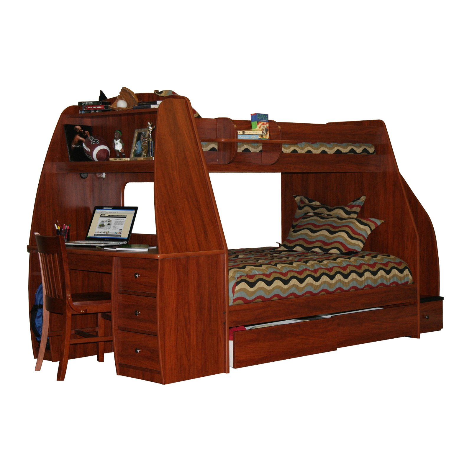 loft bed with desk and futon chair intex inflatable pull out twin mattress sleeper bunk for your kids homesfeed