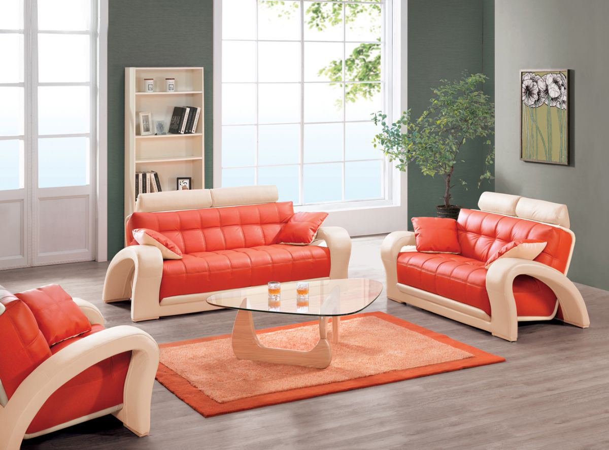 orange color sofa exchange old for new in delhi leather set cabinets matttroy