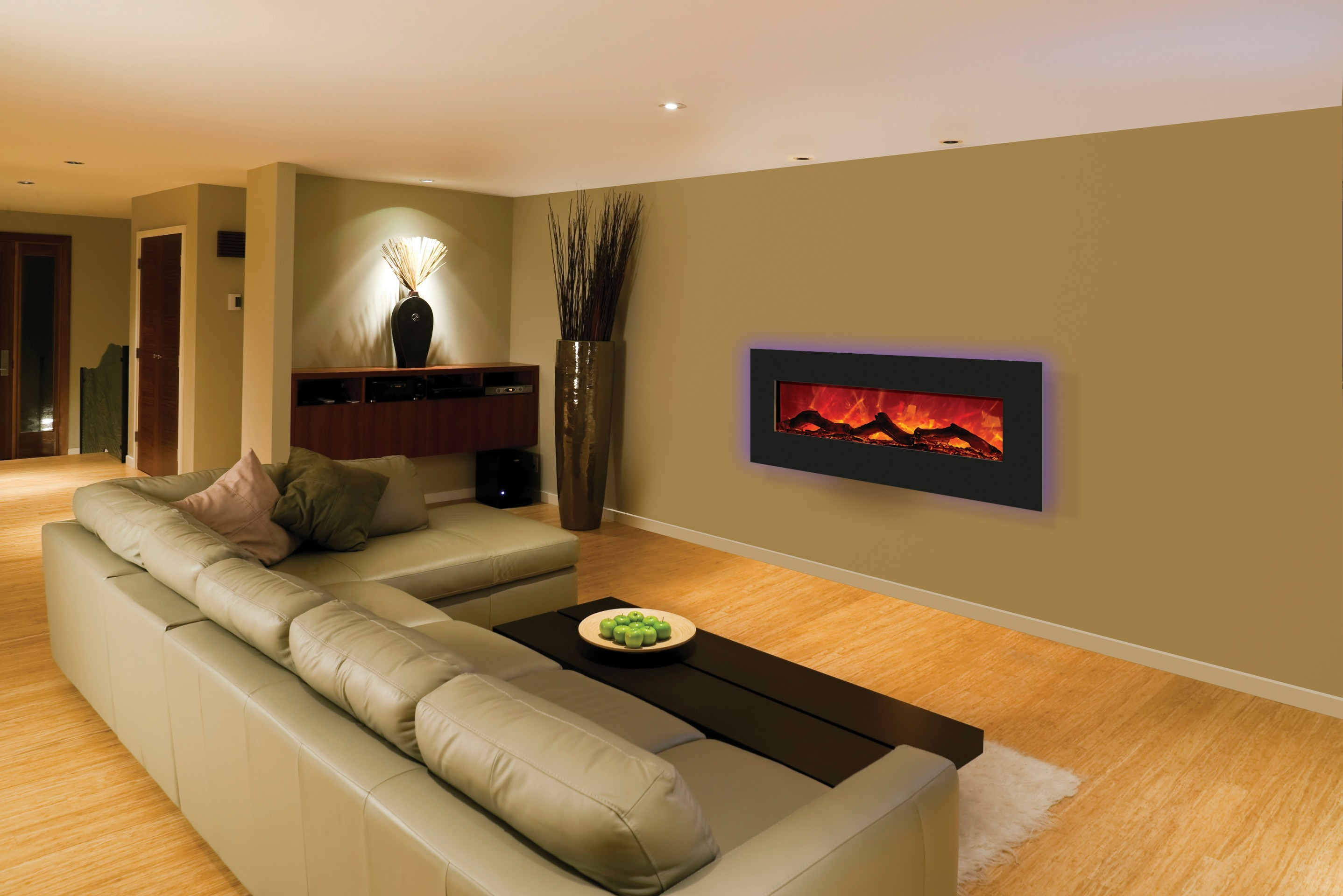 how to decorate a long living room with fireplace in the middle www furniture see through electric | homesfeed