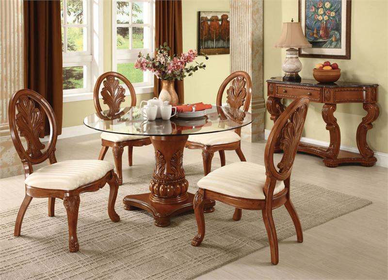 dining table and chair sets white reclining salon round set for 4 homesfeed frameless glass with crafted wood base four wooden chairs back