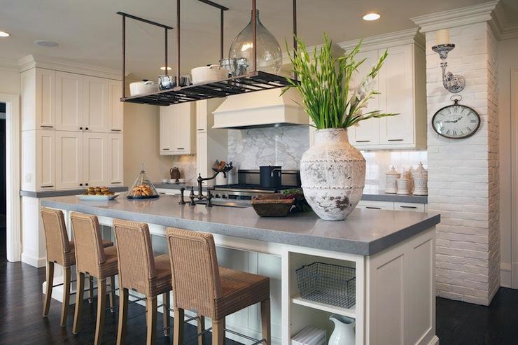 grey kitchen countertops island lighting ideas quartz for kitchens homesfeed idea several barstools white cabinet system