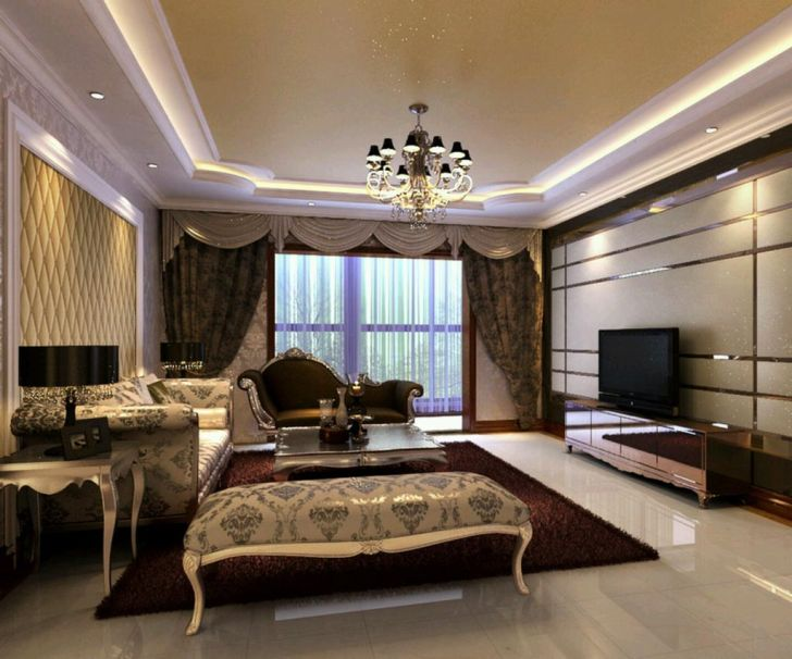 Interior Design: Interior Home Design Luxury. Luxury Home In Living Room With Decorative Furniture Best Chandelier Large Curtains And Modern Tv Desktop Interior Design Luxury For Software Pc High Quality