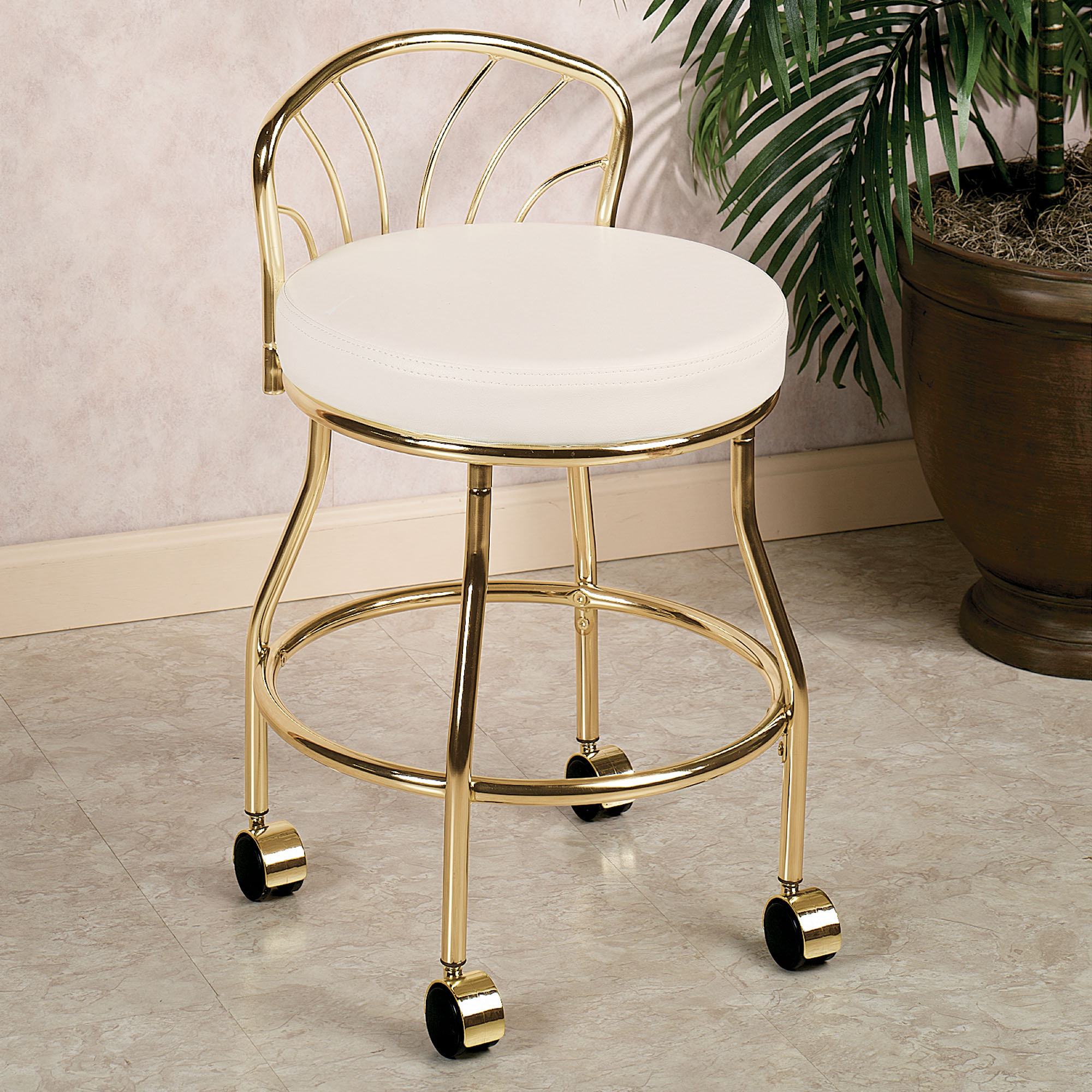 White Rolling Chair Rolling Vanity Stool Homesfeed