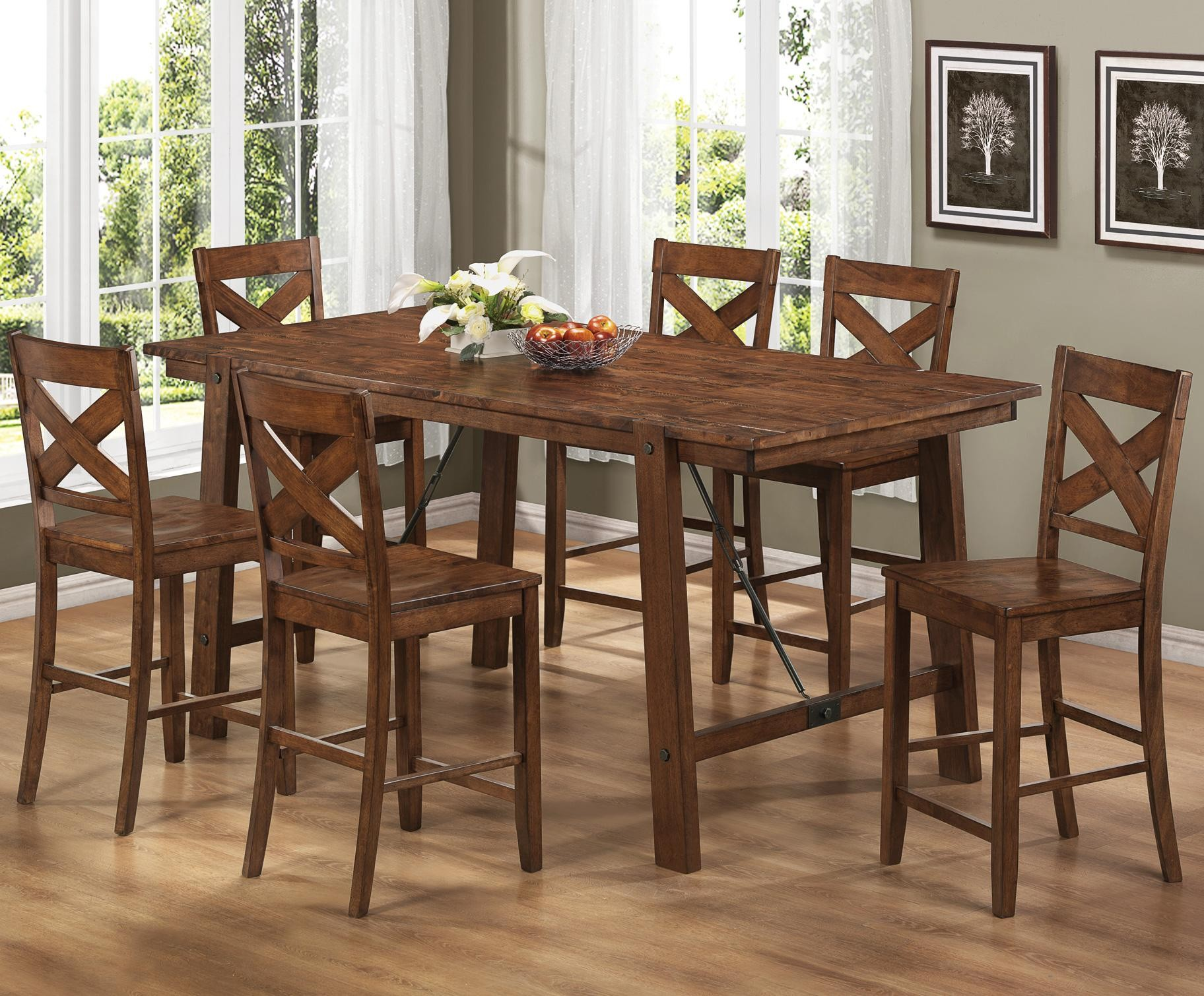 rustic wood kitchen table and chairs office chair you sit backwards high top sets homesfeed