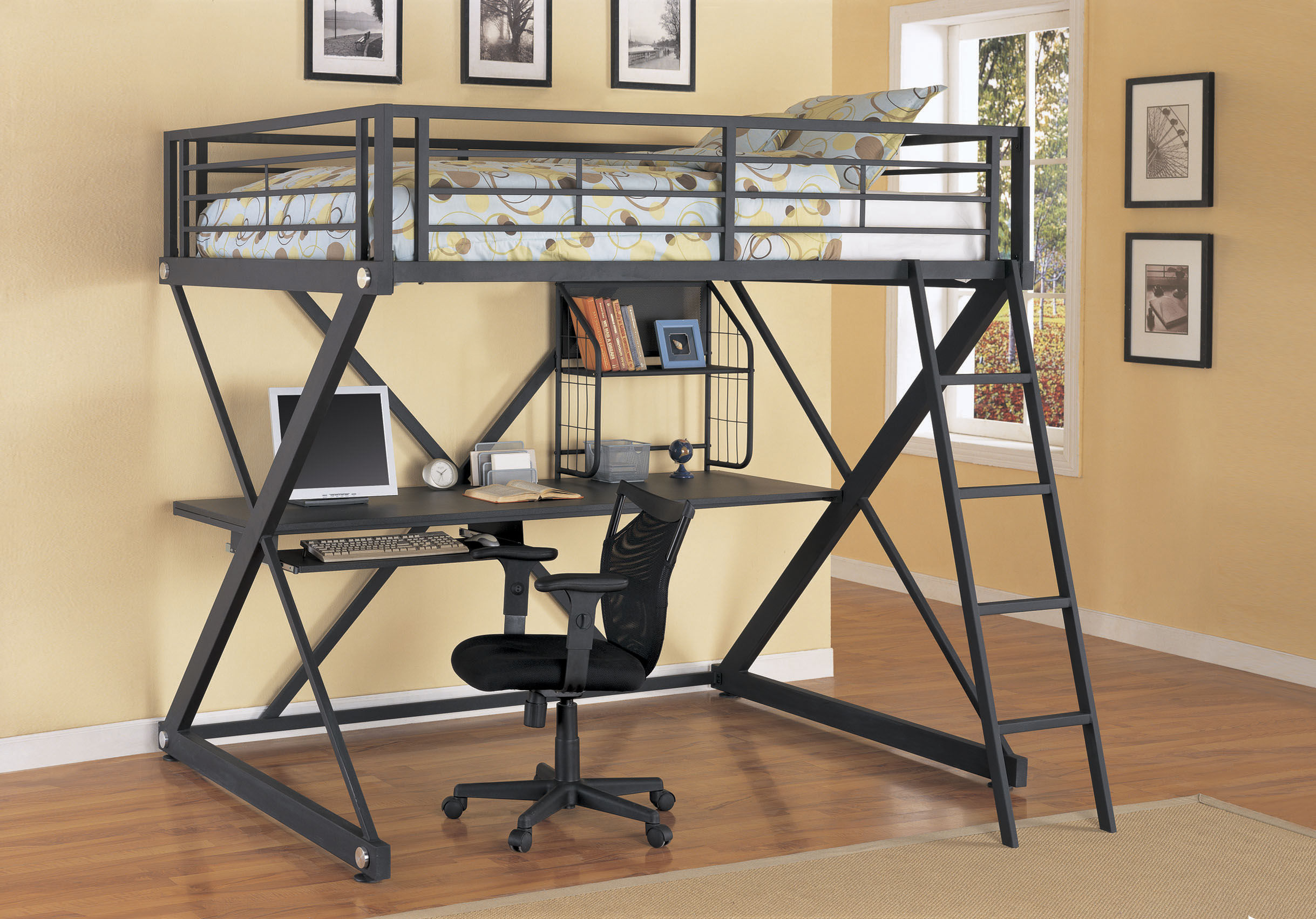loft bed with desk and futon chair curved leather dining bunk for your kids homesfeed