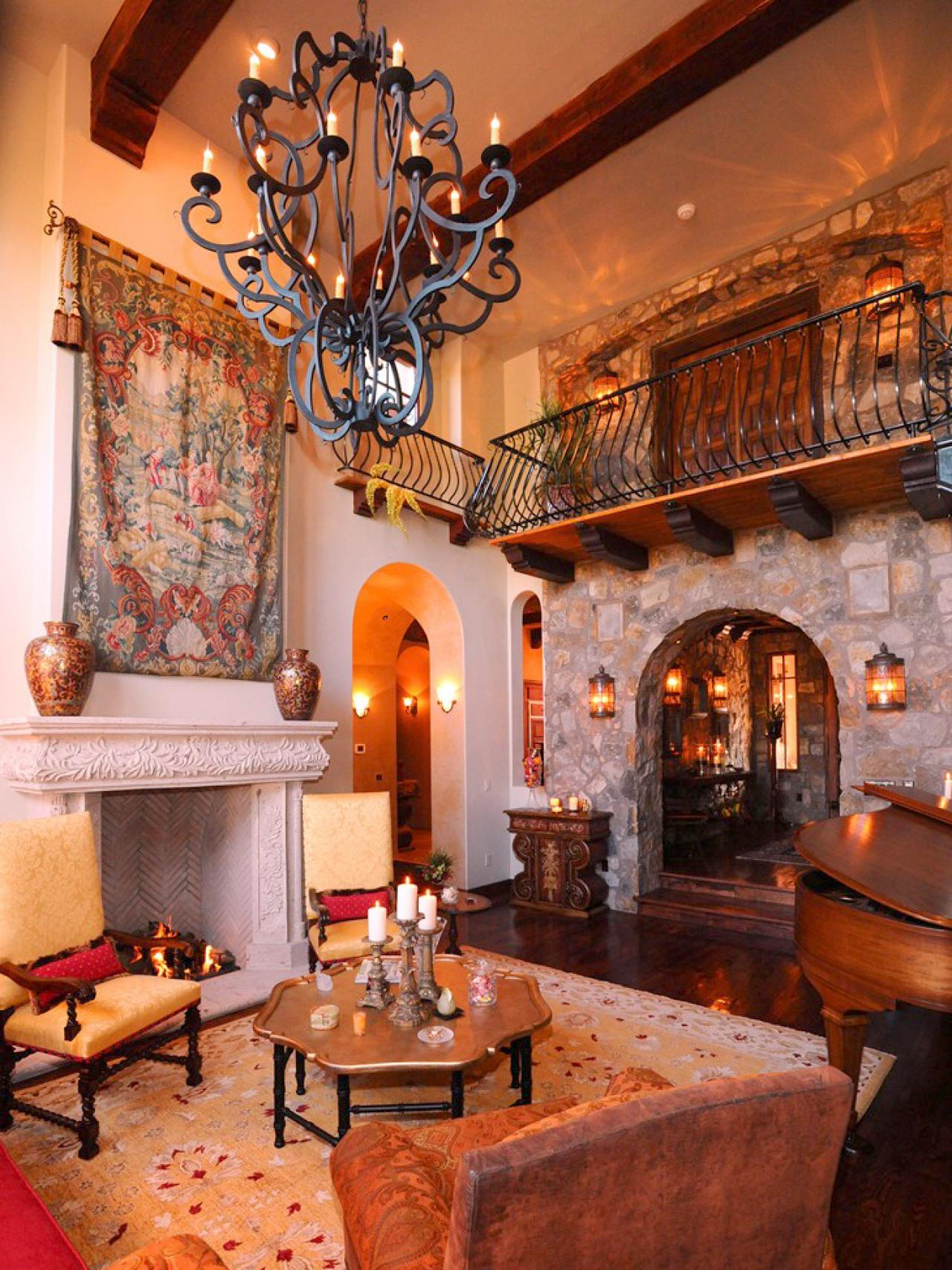 spanish style living room furniture home interior ideas design homesfeed stone combination of with awesome chandelier white fireplace small table rug
