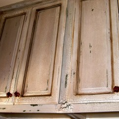 Distressed Wood Kitchen Cabinets Wall Art Decor Creating Only With Paint And Wax ...