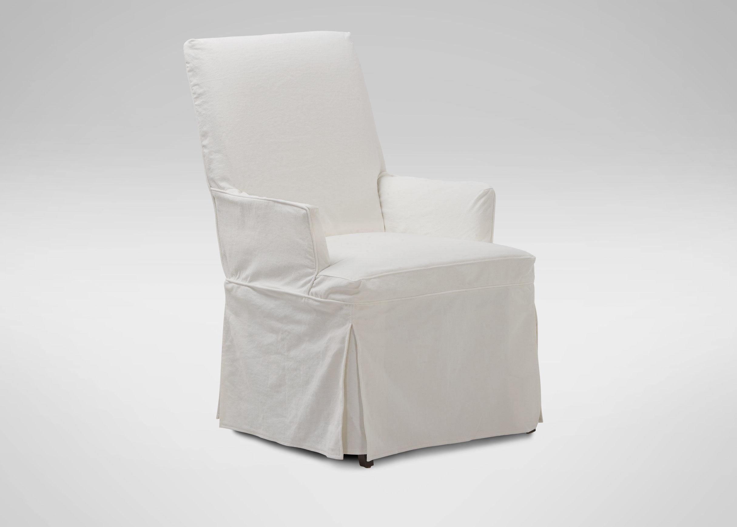 white slipcovered chair desk orange ideas homesfeed