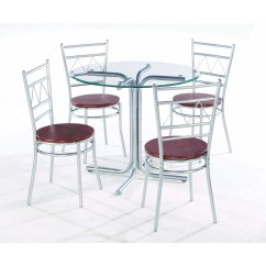 Metal Chairs And Table Canopy Lawn Walmart Round Dining Set For 4 Homesfeed Frameless Glass Top With Base Four Wood Seat