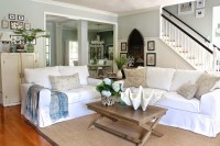 White Slipcovered Sofa for nice Living Room