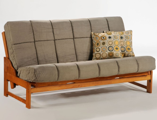 Grey Futon For Wooden Bench With Back Which Can Be Transformed Into A Bed Frame