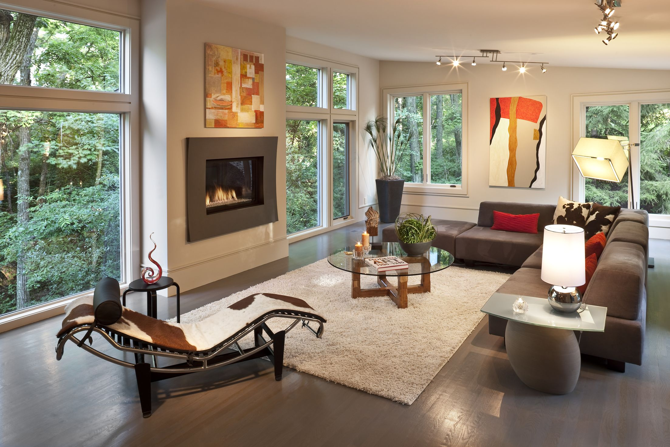 modern living room with dark wood floors flooring ideas for open plan kitchen homesfeed sectional sofa and cool fireplace