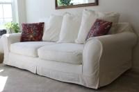 White Slipcovered Sofa for nice Living Room