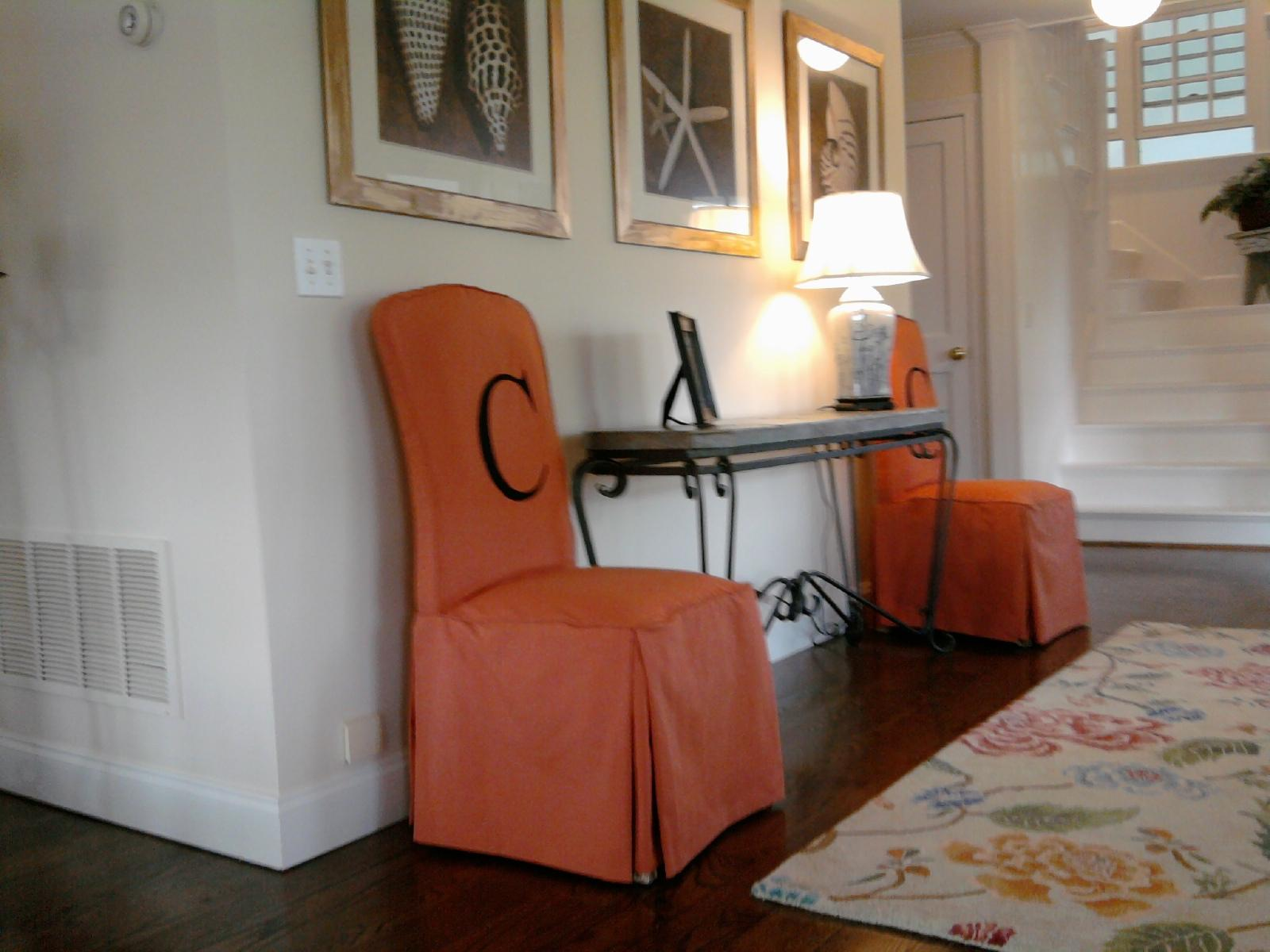 orange dining room chair covers cane for chairs suppliers parson slipcovers design homesfeed
