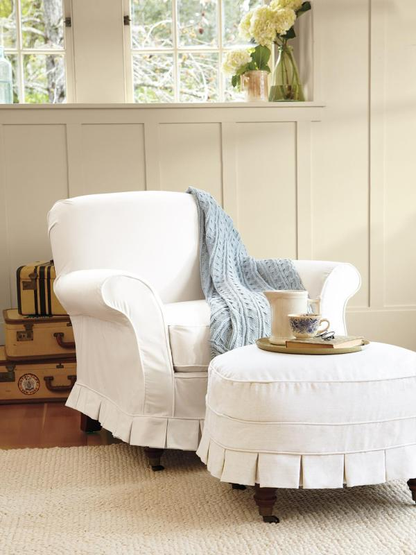 White Chair with Ottoman Slipcovers