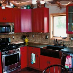 Red Kitchen Cabinets Rustic Pendant Lighting Black And Country Pictures To Pin On Pinterest
