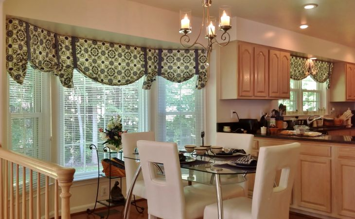 contemporary window valances updating your interior backgrounds modern for kitchen desktop hd with blinds decorated on bay together dining room glass top table and white leather chairs