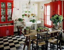 Red Black and White Country Kitchen