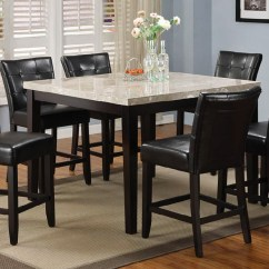 High Top Kitchen Table Set Red Valance Sets To Create An Entertaining Dining Space Homesfeed Marble With Black Leather Wooden Chairs Plus Beige Modern Rug On Adorable